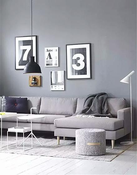 简洁黑白灰客厅装修图案