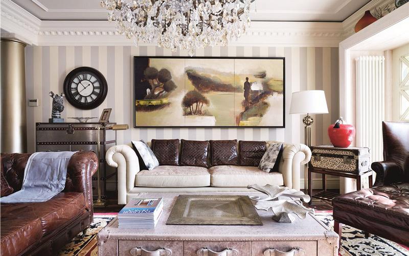轻奢复古欧式客厅 沙发背景墙设计图片