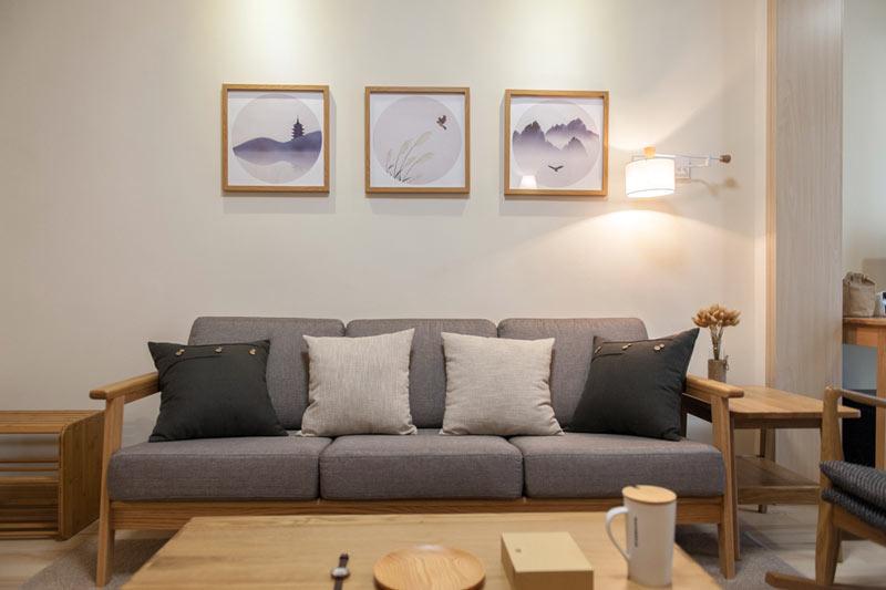 禅意简日式客厅 布艺沙发背景墙设计