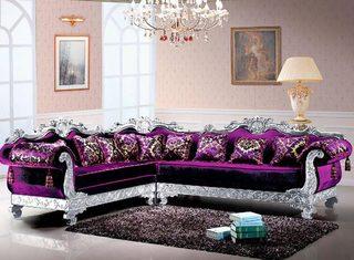 紫色欧式沙发装饰图片