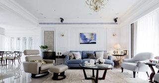 美式别墅客厅沙发背景墙装修效果图
