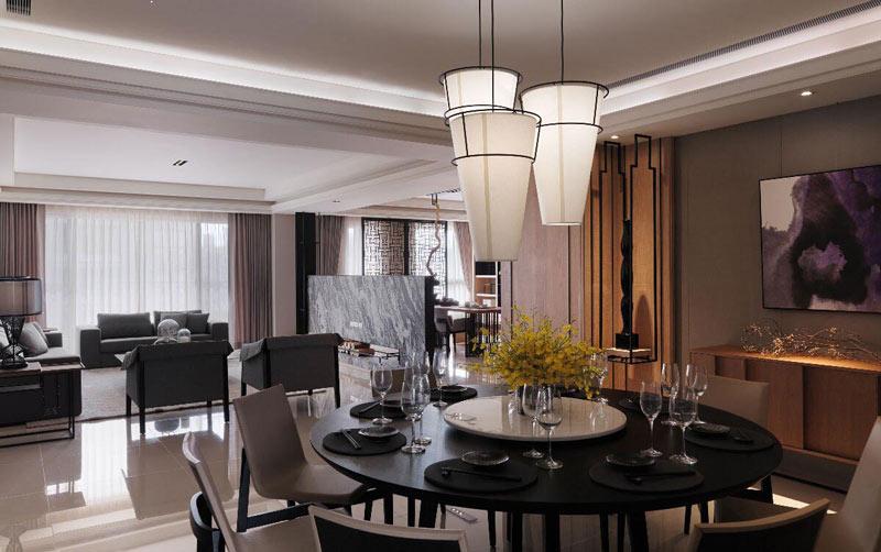 精致新中式餐厅吊灯效果图