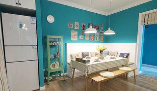 地中海蓝色餐厅背景墙装修效果图