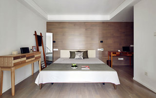 简约风格木板卧室背景墙装修效果图