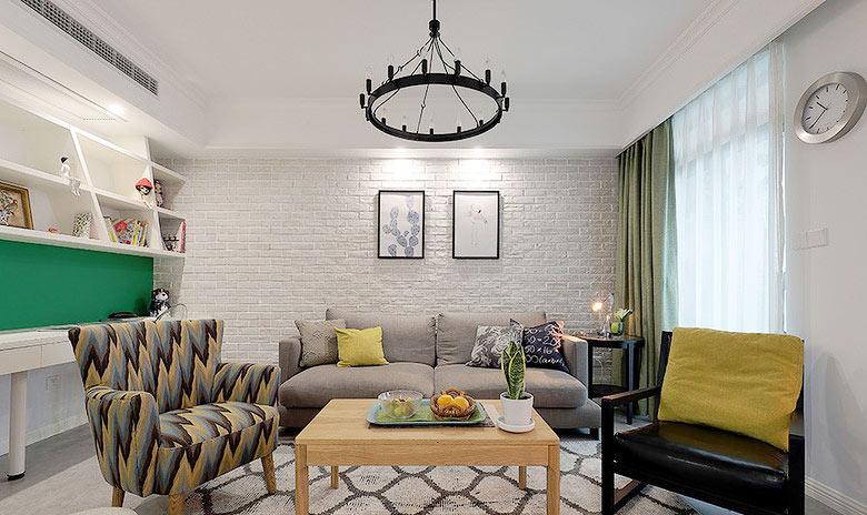 清新简欧风客厅 文化砖沙发背景墙装修