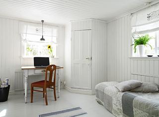 清新纯净北欧风 卧室带小书桌图片