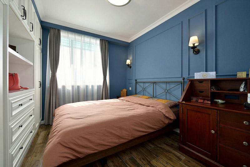 蓝色休闲美式主卧室效果图
