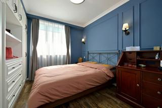 美式风格蓝色主卧室装修效果图