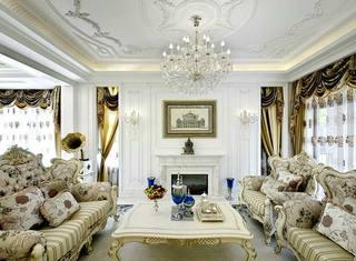 奢华法式新古典客厅 壁炉背景墙设计