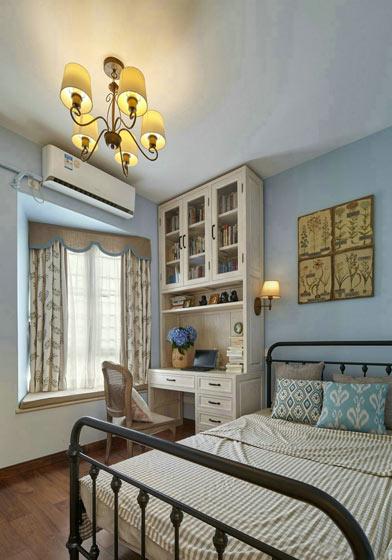 法式蓝色次卧室装修效果图