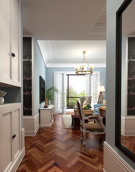 86平美式田园二居橱柜装修设计图片
