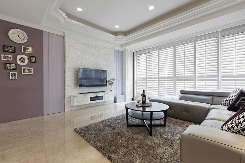 浪漫唯美紫色客厅装修效果图