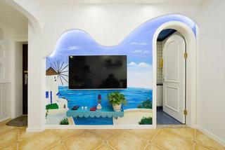 地中海蓝色客厅电视背景墙效果图