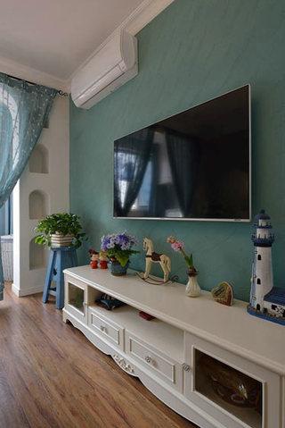 地中海主卧室蓝色电视背景墙效果图