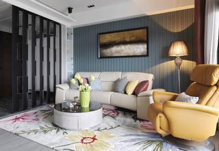现代简欧风客厅 蓝灰色背景墙装修