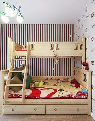 经典美式混搭儿童房 条纹背景墙装修