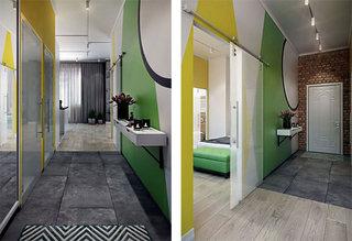 清新色彩玄关走廊墙面装修效果图