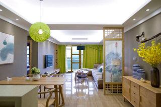 禅意新中式 客餐厅吊顶效果图