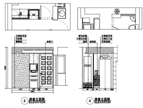 立面图展示的是从水平的角度看到房间局部的剖面,设计师一般都是画