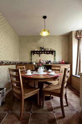 田园风格碎花壁纸餐厅背景墙装修