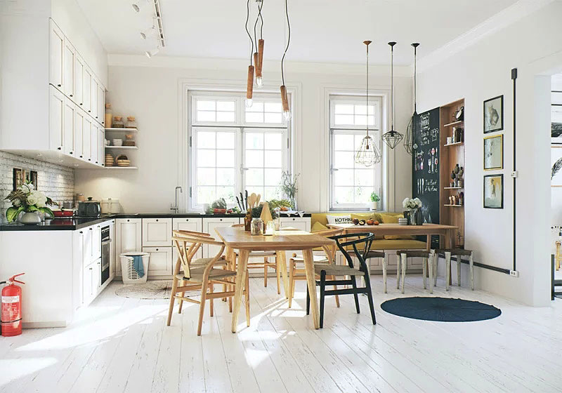 北欧风格原木餐厅装修效果图图片