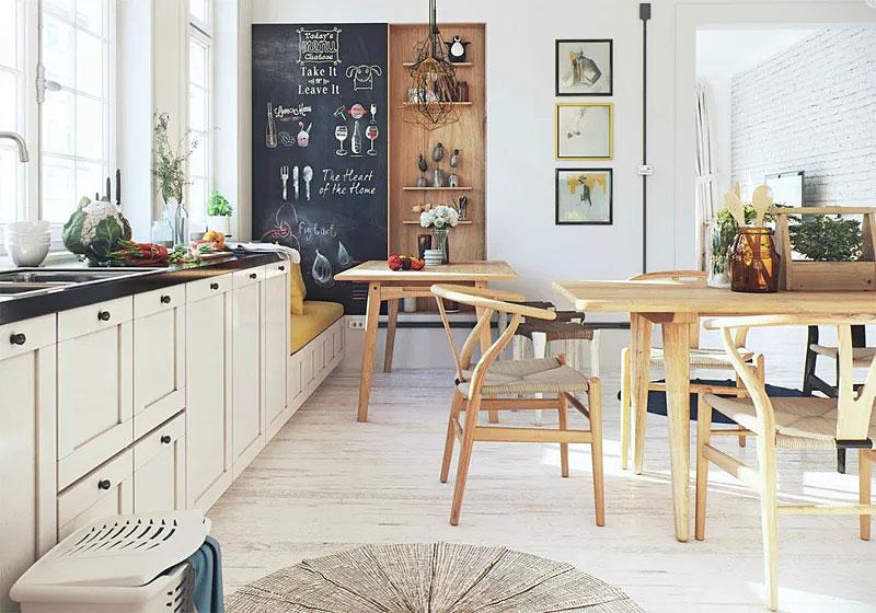 北欧风格餐厅厨房一体装修