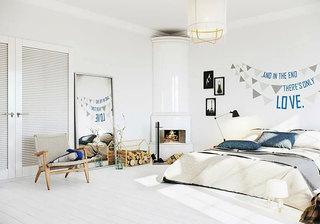 北欧风格带壁炉卧室装修效果图