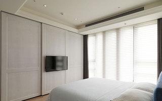 简美式主卧室 白色电视背景墙设计