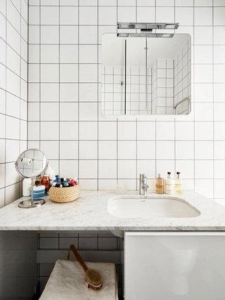 北欧风格白色大理石洗手台装修效果图