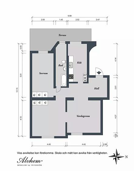 90平米二居室户型图设计装修