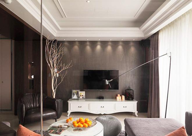 125平欧式三居电视背景墙壁纸