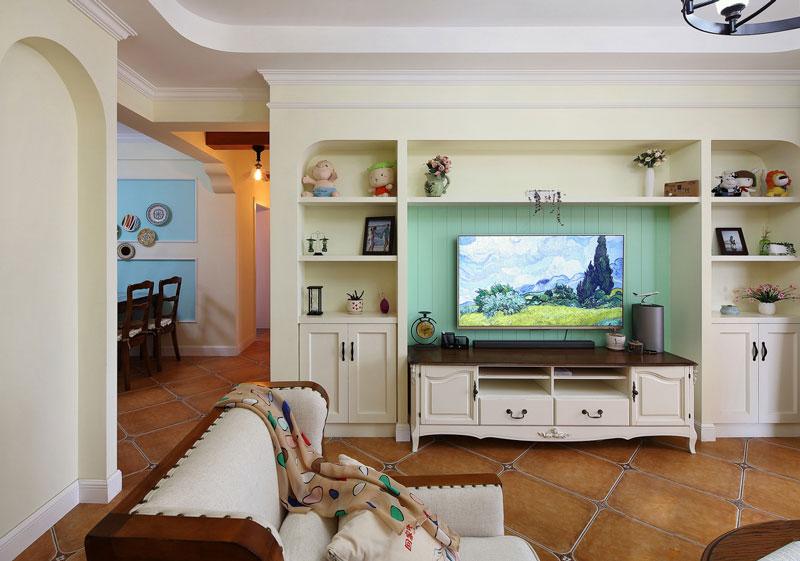 水绿色客厅电视背景墙装修效果图