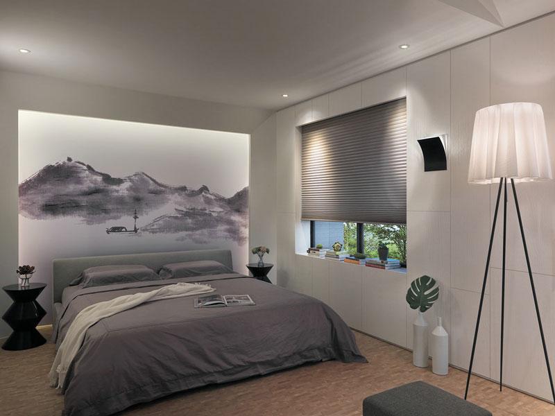 时尚灰色调简中式卧室效果图