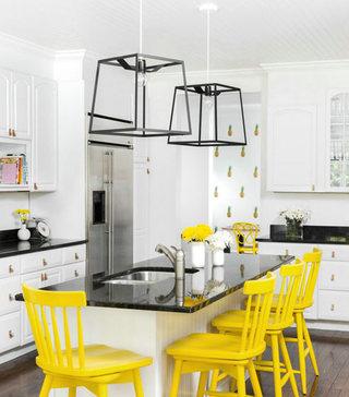 北欧工业风混撘 柠檬黄中岛椅子设计