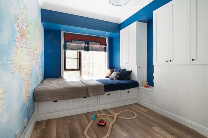 蓝白调搭配 美式榻榻米儿童房设计