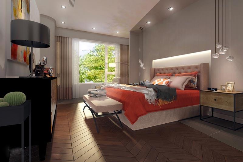 优雅灰色系简欧风卧室效果图