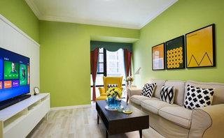 清新果绿色混搭风客厅效果图
