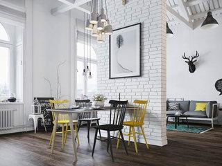精致阁楼公寓时尚餐厅背景墙装修效果图