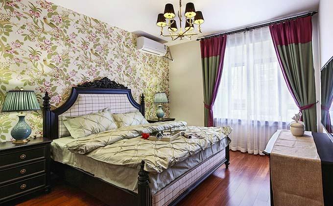 美式主卧室构造实景图图片
