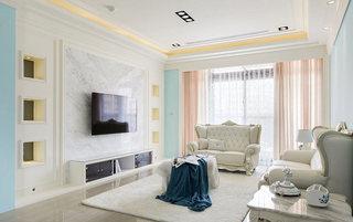 140平米新古典大理石客厅电视背景墙