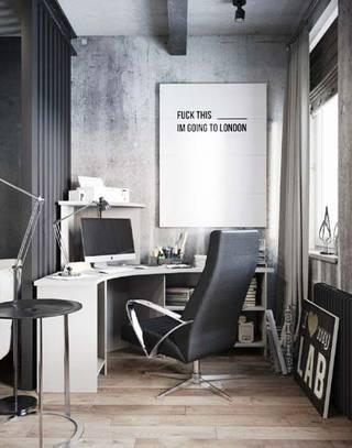 黑白灰风转角书桌效果图