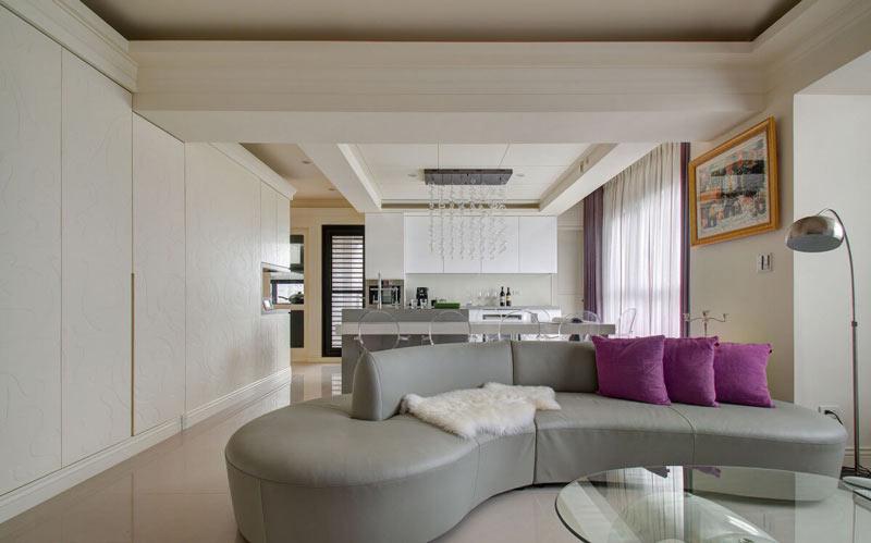 创意简约风客厅 浅灰色弧形沙发效果图