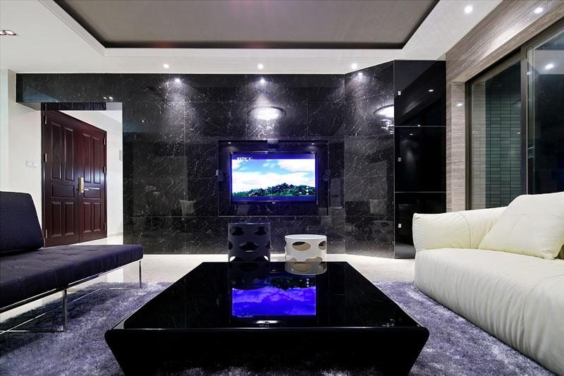 170平大户型黑色大理石电视背景墙图片