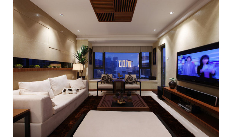 100平米中式三居室装修效果图,简约美式装修案例效果图片