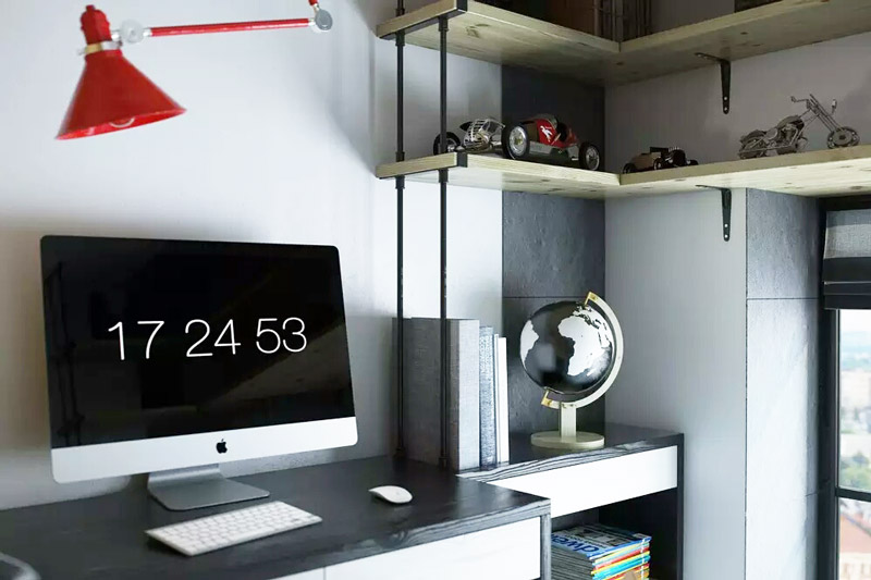 18平Loft挑高小公寓书房收纳图片