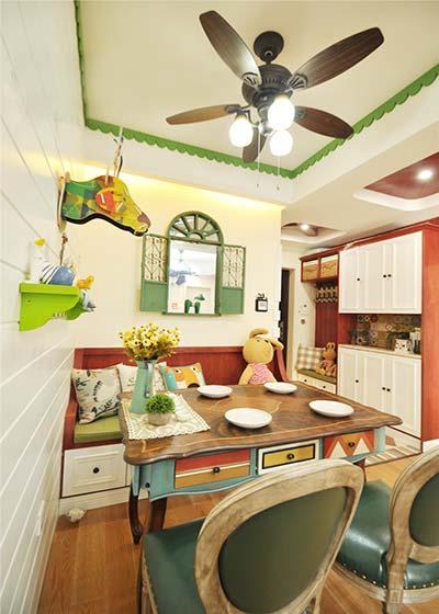 梦幻美式田园风餐厅 电扇吊灯设计