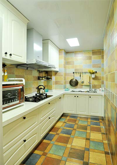 复古美式厨房 格子地砖效果图