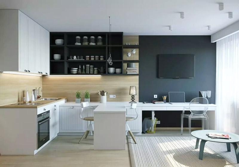 摩登黑白配 简约风开放式公寓设计