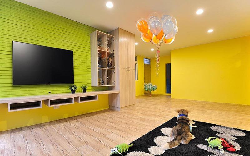 黄绿色系家居 宜家风背景墙效果图
