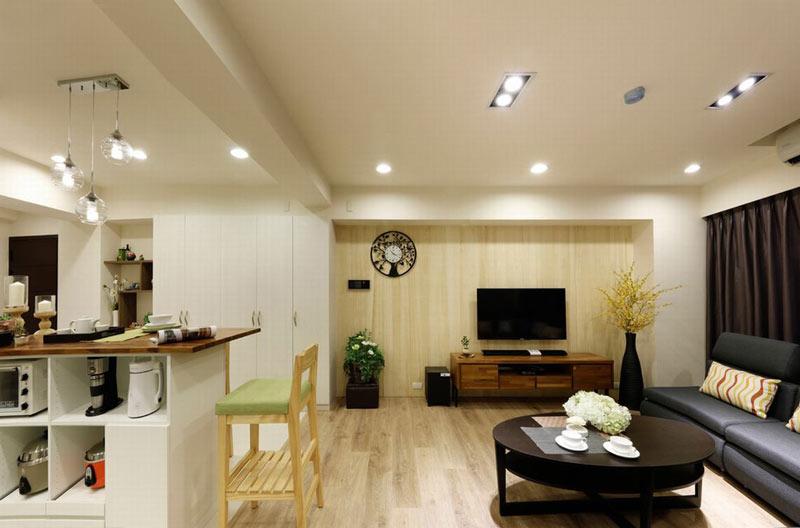 休闲北欧风格原木客厅电视背景墙装修